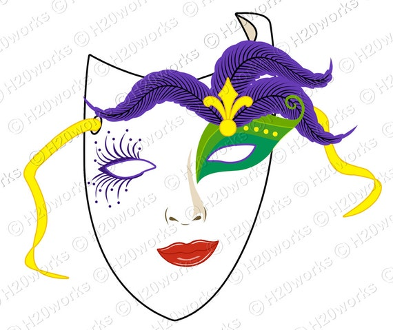 Mask, Mardi Gras, 7x6 Large Image & Transfer, Purple, Green, Gold, New Orleans, Canvas Totes, Prints, T-Shirts, Printable, INSTANT DOWNLOAD