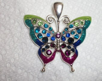 on sale Butterfly Pendant - multicolor crystals
