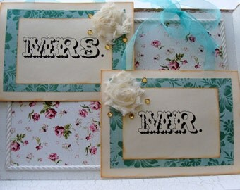 No. 110 - Teal Mrs. and Mr. Chair Signs, Wedding Door Signs, and Reception Decor (8x6) - READY TO SHIP