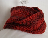 Crocheted infinity mobious scarf in fire engine red and chestnut brown