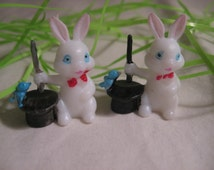 Vintage Miniature Tiny White Plastic Magic Easter Bunnies ade in Hong Kong