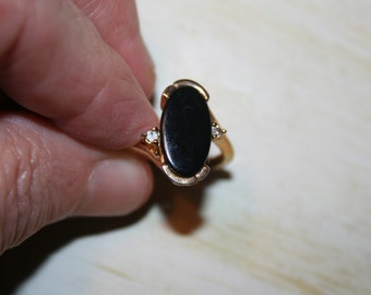 Ring Black Onyx with Rhinestones, Elegant and Classy Fashion Ring