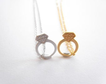 Diamond ring necklace.