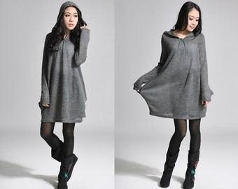 Flower Bud Hoodie Knit Shirt Dress/ Mini Dress / Any Size/  6 Colors/ RAMIES