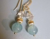 Light Blue AGATE CRYSTAL and Silver Beaded Earrings