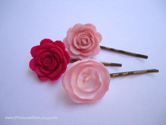 Felt and satin bobby pins - Romantic pink and fuschia roses TREASURY ITEM