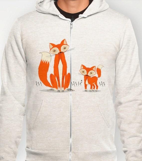 Two Fine Foxes - illustrated Hoodie / Hoody - Unisex Pullover / Zip - iOTA