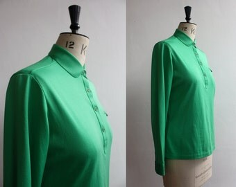 Vintage 1980s  Green Cotton  Polyester Polo Top Size UK 10 -12
