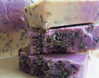 1 Lavender handmade Soap. approximate 4oz Vegan Friendly Comes wrapped and labeled.