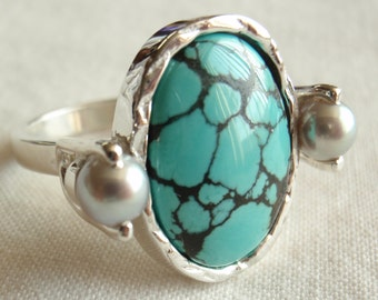 Turquoise Pearl Ring Sterling Silver Unique Freshwater Pearls Artisan Hand Fabricated Hand Made