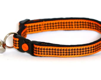 Houndstooth Cat Collar - Bright Orange -Small Cat/ Kitten Size or Large Size Collar