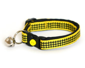 Houndstooth Cat Collar - Bright Yellow - Small Cat / Kitten Size or Large Size