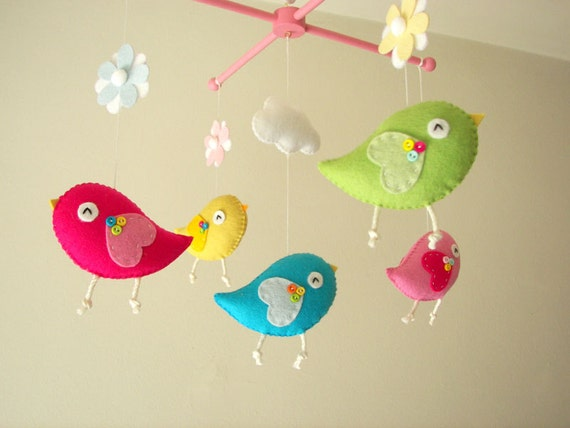 Items similar to baby crib mobile bird mobile felt for Bird mobiles for nursery
