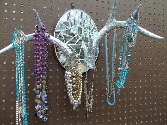 Taxidermy/Glitter Jewelry Hanger/Wall Antlers/Home Decor/Wall Decor/Real Antlers/Mosiac Art
