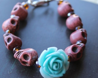 Blue Rose and Sugar Skull Bracelet