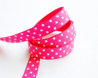 Fuchsia Swiss Dots 3/8 inch Grosgrain Ribbon - Choose 1, 5, 10, 20 or 50 yards - Hairbow Supplies, Etc.
