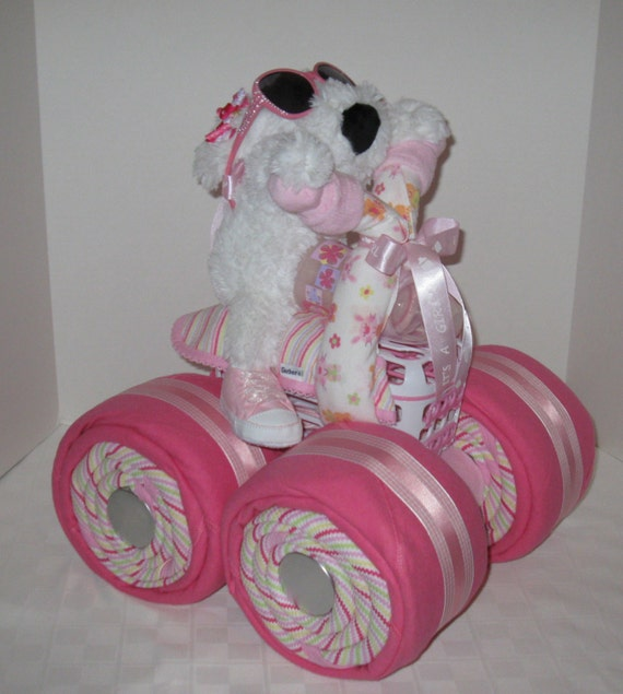 Diaper Cake, 4-Wheeler, Quad Motorcycle Baby Shower,Girl Baby Gift, Shower Centerpiece, Baby Shower Gift,Unique,Gift Basket,