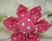 Crystal Dog Collar Flower - Any Size - Pink Dots - Item 2328