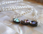 Tiny Silver Necklace, Paua Necklace, Abalone Shell Jewelry