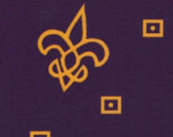 1 Yard Fabric Finders Purple Cotton with Gold Fleur de Lis