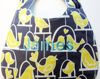 Monogrammed Baby Bib - Citron Birds on Gray - Gray and Yellow Bib - Gender Neutral - Personalized Baby Gift - Monogrammed Bib - Baby Gift