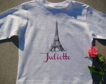 Eiffel Tower Tee Shirt - Personalized name girls long or short sleeve Tee shirt - You pick name