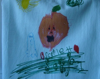 Your Child's Art or Recipe printed on a tea towel - custom printed on a flour sack towel - kitchen towel