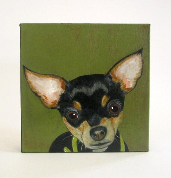 dog portrait, dog gift idea- custom pet portrait-8x8 painting- dog lover gift - custom painting-dog portrait- redtilestudio