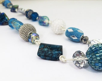Eclectic beads & Metallic Leather- Necklace