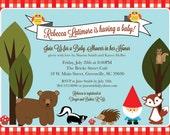 Printable Woodland Baby Shower or Birthday Invitation, Animals Creatures Gnome, Gingham, Bear, Skunk, Hedgehog, Squirrel, Fox, digital file