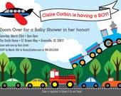 Transportation Baby Shower Invitation, Boy, Train, Plane, Automobiles, Cars, Firetruck, Airplane, Printable DIY Digital File