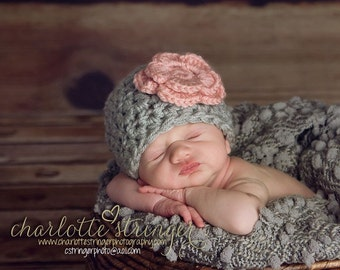 Baby Girl Hat Crochet Chunky Gray and Pink Flower,  Available in  Newborn to 12 Months  Photo Prop, Choose Size