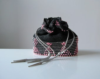 vintage 1950s beaded pouch bag