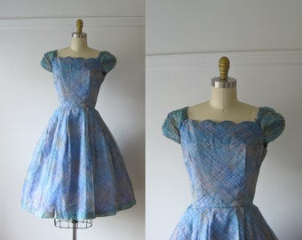 SALE vintage 1950s party dress / 50s dress / Blue Belle