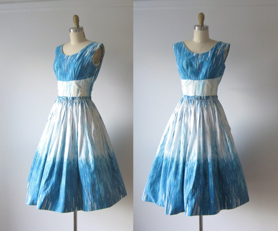 vintage 1950s dress / 50s dress / Blue Skies