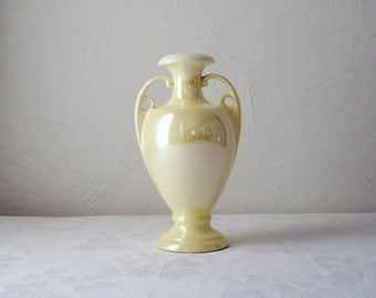 vintage buttercream yellow urn vase - iridescent pearl glaze