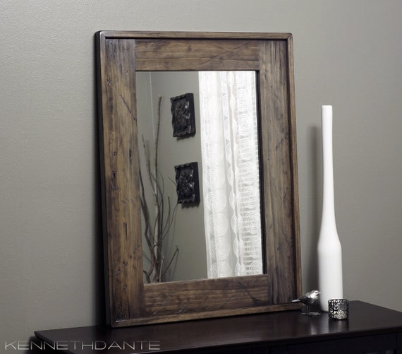 Modern rustic wood mirror distressed barn bathroom by for Wood framed mirrors for bathrooms