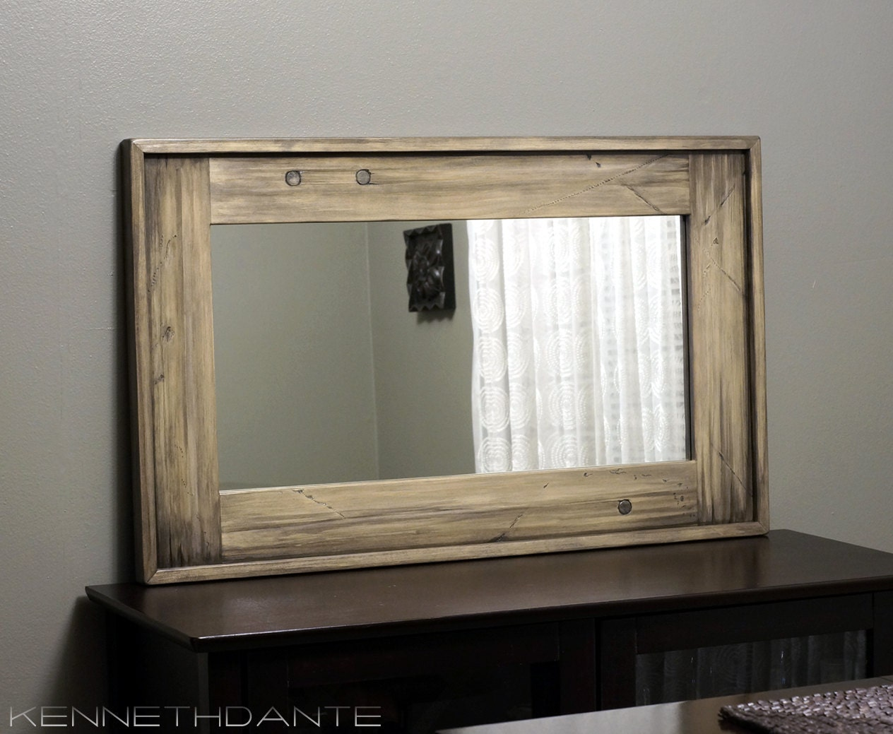Rustic wood framed mirror distressed farmhouse by kennethdante for Wood framed mirrors