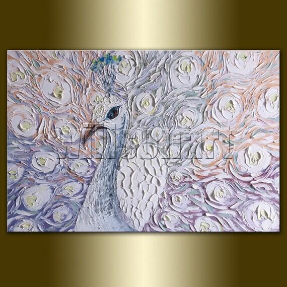 Peacock Oil Painting Textured Palette Knife Modern Original Animal Art 20X30 by Willson Lau