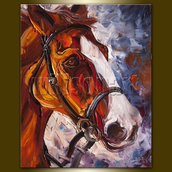 Horse Modern Oil Painting Horse Head Portrait by willsonart
