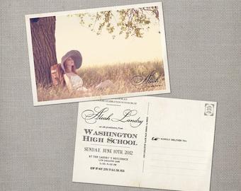 "Graduation announcement postcards, High school graduation cards, College oruniversity graduation invitation ideas, 4x6 - the ""Aleah"""