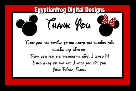 Mickey And Minnie Inspired Thank You Notes Blank Or Generic