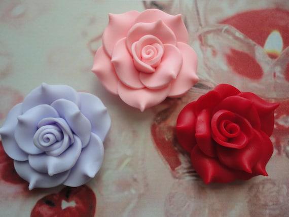 kawaii big clay rose chatm cabochons decoden deco diy craft  3 pcs  USA seller