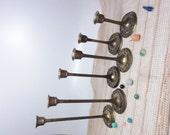 Set of 6 Brass Candlesticks with Ornate Base