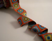 Bright Fun Squares Polyester Jacquard Ribbon by Laura Foster Nichols--One Yard