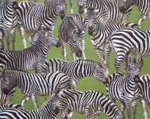 Zebra Print in Brown on Olive Pure Cotton Fabric--One Yard