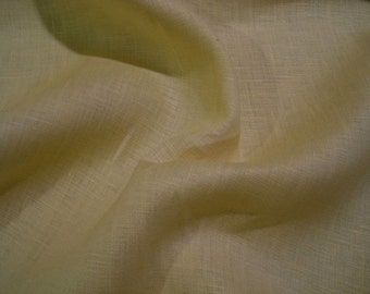 REMNANT--Butter Yellow Pure Linen Shirting Fabric--1&2/3  Yard