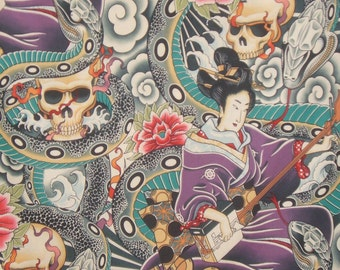 Zen Charmer Print Pure Cotton Fabric by Alexander Henry--One Yard