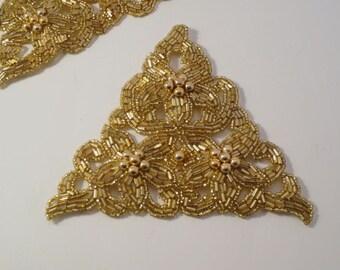 Bright Gold Triangular Beaded Applique-One Piece