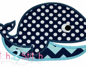 Whale Applique Design (Font NOT included) 4x4, 5x7, and 6x10  INSTANT DOWNLOAD now available